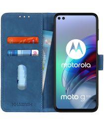 KHAZNEH Motorola Moto G100 Hoesje Retro Wallet Book Case Blauw