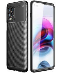 Motorola Moto G100 Hoesje Siliconen Carbon TPU Back Cover Zwart