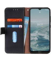 Nokia 6.3 / G10 / G20 Hoesje Portemonnee Book Case Echt Leer Zwart