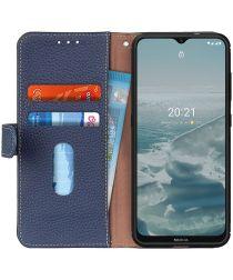 Nokia 6.3 / G10 / G20 Hoesje Portemonnee Book Case Echt Leer Blauw