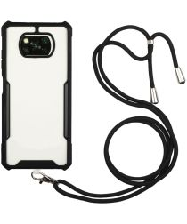 Xiaomi Poco X3 / X3 Pro Hoesje met Koord Back Cover Keycord Zwart