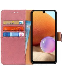 Samsung Galaxy A32 4G Hoesje Portemonnee met Drukknoop Sluiting Roze