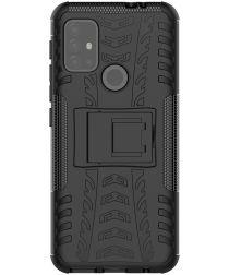 Motorola Moto G10/G20/G30 Hoesje Hybride Back Cover Kickstand Zwart