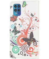 Motorola Moto G100 Hoesje Wallet Book Case met Bloemen Print