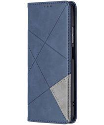 Xiaomi Redmi Note 10/10S Hoesje Portemonnee Book Case Geometrie Blauw