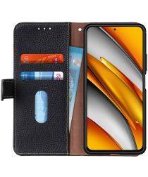 Xiaomi Poco F3 Hoesje Wallet Book Case Echt Leer Zwart