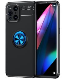Oppo Find X3 Pro Hoesje Metalen Magnetische Ring Kickstand Zwart Blauw