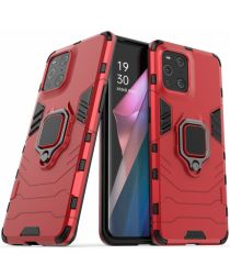 Oppo Find X3 Pro Hoesje Shock Proof Back Cover met Kickstand Rood