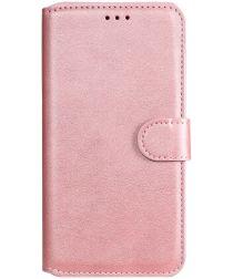 Oppo A54 5G Hoesje Portemonnee Book Case Kunstleer Roze Goud