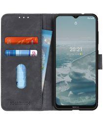 KHAZNEH Nokia 6.3 / G10 / G20 Hoesje Retro Wallet Book Case Zwart