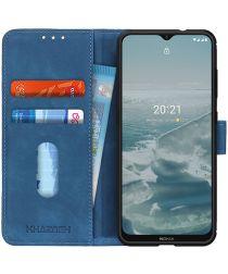 KHAZNEH Nokia 6.3 / G10 / G20 Hoesje Retro Wallet Book Case Blauw