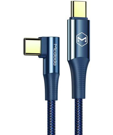 Fast Charge 100W USB-C Snellaad Kabel 1.2 Meter met Haakse Hoek Blauw Kabels