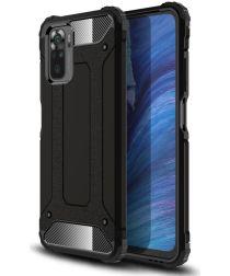 Xiaomi Redmi Note 10 / 10S Hoesje Shock Proof Hybride Back Cover Zwart