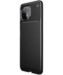Xiaomi Mi 11 Ultra Hoesje Siliconen Carbon TPU Back Cover Zwart