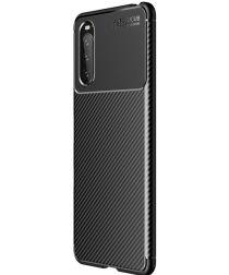 Sony Xperia 10 III Hoesje Siliconen Carbon TPU Back Cover Zwart
