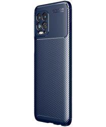Motorola Moto G100 Hoesje Siliconen Carbon TPU Back Cover Blauw