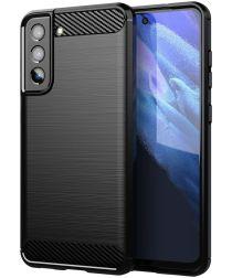 Samsung Galaxy S21 FE Hoesje Geborsteld TPU Flexibele Back Cover Zwart