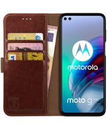Rosso Element Motorola Moto G100 Hoesje Book Cover Bruin