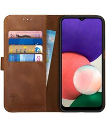 Rosso Deluxe Samsung Galaxy A22 Hoesje Echt Leer Book Case Bruin