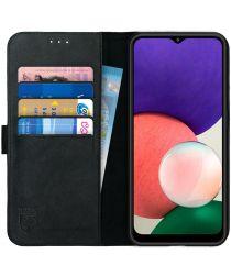 Rosso Deluxe Samsung Galaxy A22 Hoesje Echt Leer Book Case Zwart