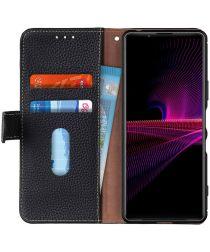 KHAZNEH Sony Xperia 1 III Hoesje Wallet Book Case Echt Leer Zwart