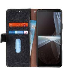 KHAZNEH Sony Xperia 10 III Hoesje Wallet Book Case Echt Leer Zwart