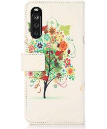 Sony Xperia 10 III Hoesje Portemonnee Book Case met Boom Print