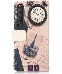 Sony Xperia 1 III Hoesje Portemonnee Book Case met Eifeltoren Print