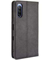 Sony Xperia 10 III Hoesje Book Case Vintage Portemonnee Zwart