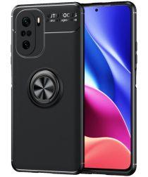 Xiaomi Poco F3/Mi 11i Hoesje Magnetische Metalen Ring Kickstand Zwart