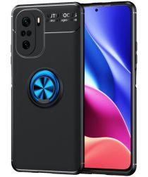 Xiaomi Poco F3/Mi 11i Hoesje Magnetische Metalen Ring Kickstand Blauw