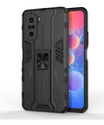Xiaomi Poco F3 / Mi 11i Hoesje Back Cover Magnetische Kickstand Zwart