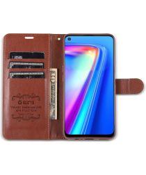 AZNS Oppo A74 5G Hoesje Portemonnee Book Case Bruin