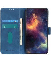 KHAZNEH Oppo A74 4G Hoesje Hoesje Retro Wallet Book Case Blauw