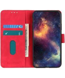 KHAZNEH Oppo A74 4G Hoesje Hoesje Retro Wallet Book Case Rood