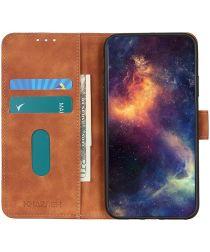 KHAZNEH Oppo A74 4G Hoesje Hoesje Retro Wallet Book Case Bruin