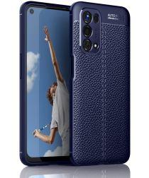 Oppo A74 5G Hoesje TPU met Leren Litichi Textuur Back Cover Blauw