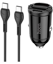 Hoco 4.8A Auto Snellader 30W met QC en PD 3.0 + USB-C Kabel 1M Zwart