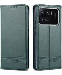 AZNS Xiaomi Mi 11 Ultra Hoesje Portemonnee Book Case Kunstleer Groen