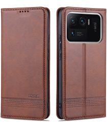 AZNS Xiaomi Mi 11 Ultra Hoesje Portemonnee Book Case Kunstleer Bruin
