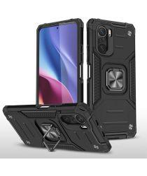 Xiaomi Mi 11i / Poco F3 Hoesje Magnetische Ring Kickstand Zwart