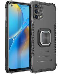 Oppo A74 4G Hoesje met Metalen Magnetische Kickstand Zwart
