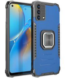 Oppo A74 4G Hoesje met Metalen Magnetische Kickstand Blauw