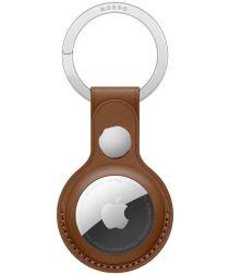 Rosso Element Apple AirTag Sleutelhanger Kunstleer Hoesje Bruin