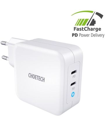 Choetech 100W Power Delivery USB-C Snellader voor Laptop / Macbook Wit Opladers
