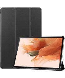 Samsung Galaxy Tab S7 FE Hoes Tri-Fold Book Case Kunstleer Zwart