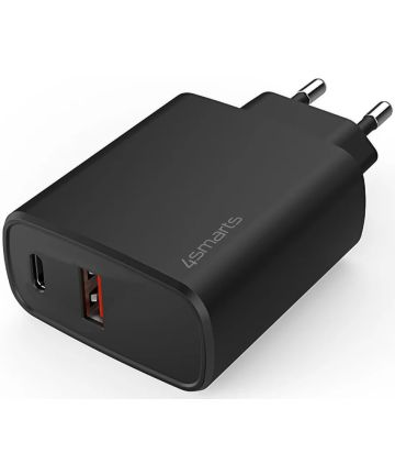 4smarts VoltPlug Adapter 25W USB-A / USB-C Snellader Zwart Opladers