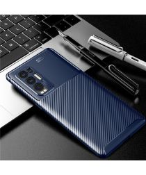 Oppo Find X3 Neo Hoesje Siliconen Carbon TPU Back Cover Blauw