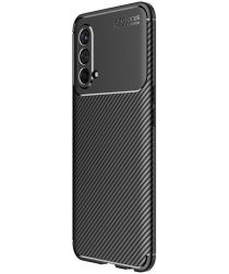 OnePlus Nord CE 5G Hoesje Siliconen Carbon TPU Back Cover Zwart