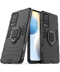 Motorola Moto E6i Hoesje met Metalen Magnetische Ring Kickstand Zwart